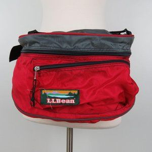 Vintage LL Bean Red Gray Hiking Waist Pack Fanny